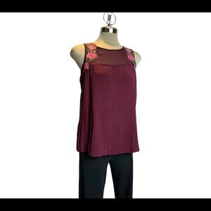 American eagle burgundy embroidered blouse